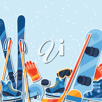 Winter sports background with equipment sticker flat icons.