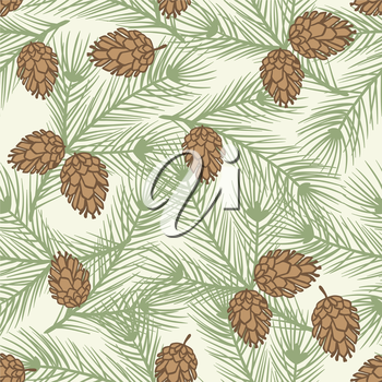 Winter seamless pattern with stylized pine branches.