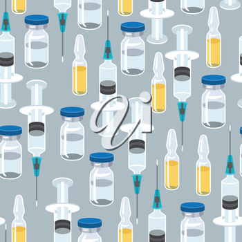Syringe and vaccine medical conceptual seamless pattern.