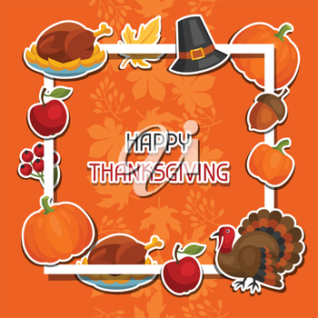 Happy Thanksgiving Day background design with holiday sticker objects.