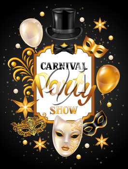 Carnival invitation card with gold masks and decorations. Celebration party background.