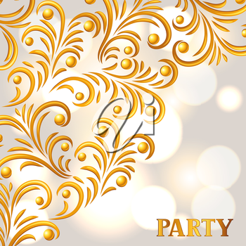 Celebration party background with golden ornament. Greeting, invitation card or flyer.