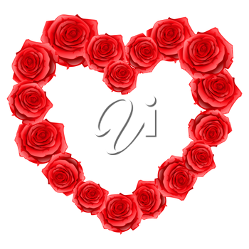 Heart frame of red realistic roses. Happy Valentine day greeting card.