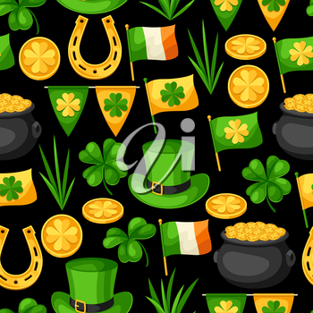 Saint Patricks Day seamless pattern. Flag Ireland, pot of gold coins, shamrocks, green hat and horseshoe.