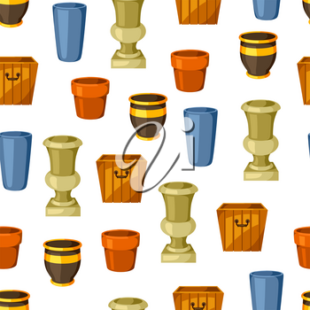 Garden pots. Seamless pattern with various color flowerpots.