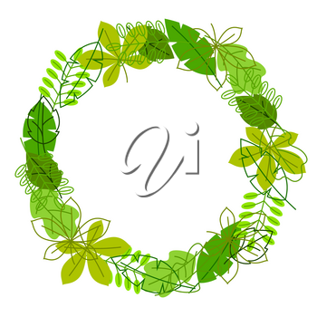 Natural frame with stylized green leaves. Spring or summer foliage.