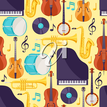 Jazz music seamless pattern with musical instruments.