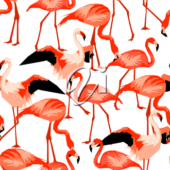 Seamless pattern with flamingo. Tropical bright abstract birds.