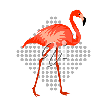 Design with flamingo. Tropical bright abstract bird.