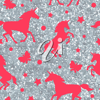 Seamless pattern with unicorns and silver glitter texture.