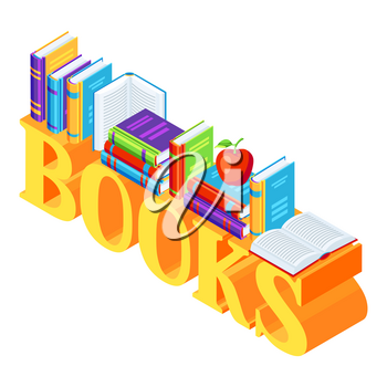 Isometric word with books. Education or bookstore illustration in flat design style.