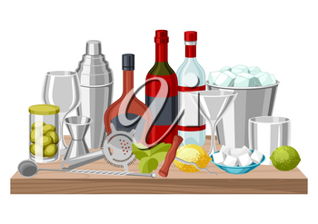 Cocktail bar background. Essential tools, glassware, mixers and garnishes