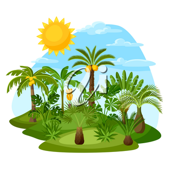 Card with tropical palm trees. Exotic tropical plants Illustration of jungle nature.