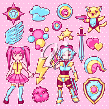 Set of japanese anime cosplay objects. Cute kawaii characters and items.