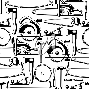 Seamless pattern with equipment and tools for forestry and lumber industry.