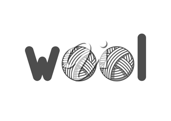 Wool emblem with with balls of yarn. Label for hand made, knitting or tailor shop.