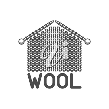 Wool emblem with knitted fabric and needles. Label for hand made, knitting or tailor shop.