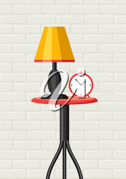 Interior home decor. Table, lamp and clock. Illustration in flat style.