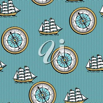 Seamless pattern with old nautical map. Ocean, ships and vintage retro compass.