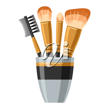 Set of brushes for make up. Illustration of object on white background in flat design style.