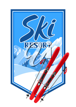 Winter background with skiing equipment. Snowy mountains and fir forest.