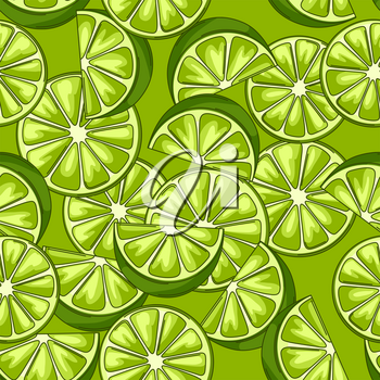 Seamless pattern with limes. Fresh healthy juice. Green stylized citrus fruits whole and slices.