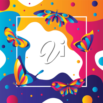 Frame design with butterflies. Colorful bright abstract insects.