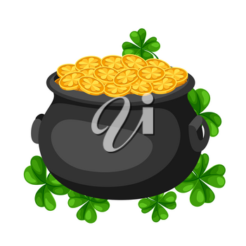 Saint Patricks Day illustration. Pot and gold with clover. Irish festive national items.