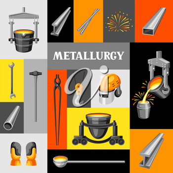 Metallurgical background design. Industrial items and equipment.