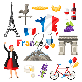 France icons set. French traditional symbols and objects.