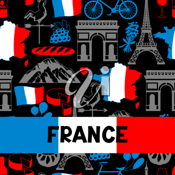 France background design. French traditional symbols and objects.