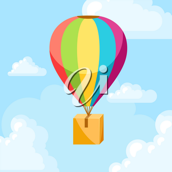 Hot air balloon with delivery box. Conceptual illustration of shipping goods by air.