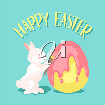 Happy Easter greeting card. Holiday illustration with bunny and eggs.