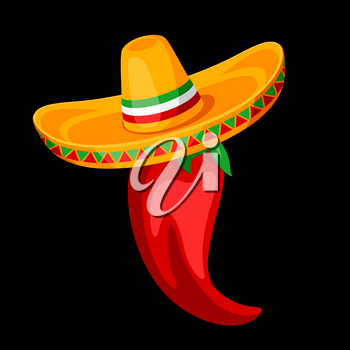 Illustration of red chili pepper in sombrero. Mexican traditional simbol.
