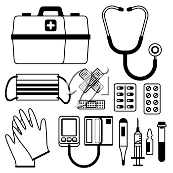 First aid kit equipment. Medical instruments for emergency assistance.