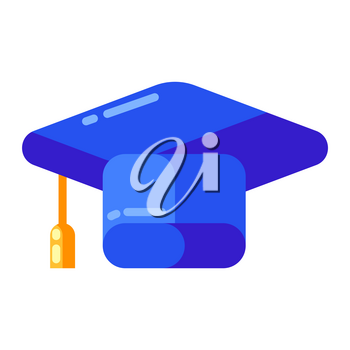 Icon of graduate cap in flat style. Illustration isolated on white background.