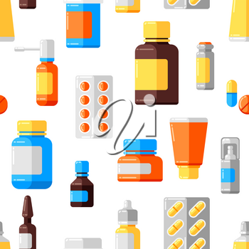 Seamless pattern with medicine bottles and pills. Medical background in flat style.