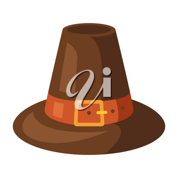 Happy Thanksgiving illustration of pilgrim hat. Autumn seasonal holiday item.