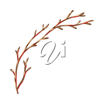 Illustration of dry branch. Stylized hand drawn image in retro style.