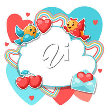 Happy Valentine Day frame. Kawaii illustration with love symbols.
