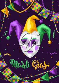 Mardi Gras party greeting or invitation card. Carnival background for traditional holiday or festival.