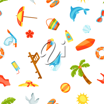 Seamless pattern with summer and beach objects. Illustration of stylized items.