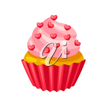 Valentines Day muffin with hearts. Illustrations in cartoon style.