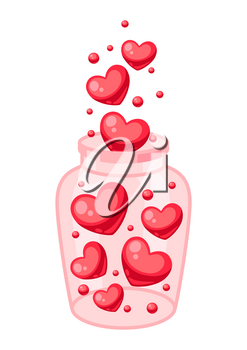 Valentines Day jar filled with hearts. Illustrations in cartoon style.