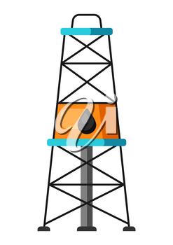 Illustration of oil derrick. Industrial equipment in flat style.