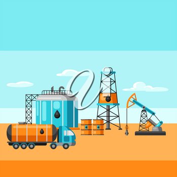 Illustration of oil production. Industrial and business landscape background.