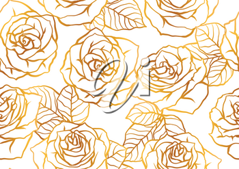Seamless pattern with outline roses. Beautiful realistic flowers and leaves.