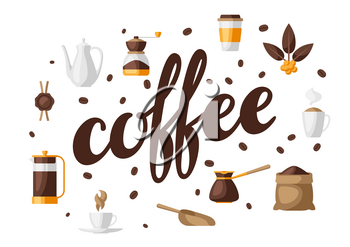 Background with coffee icons. Food illustration of beverage items. Design for coffee shop, bar and cafe.