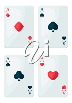 Set of four aces playing cards suit. On-board game or gambling for casino.