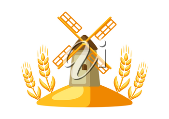 Illustration of grain mill with ripe wheat ears. Agricultural emblem.